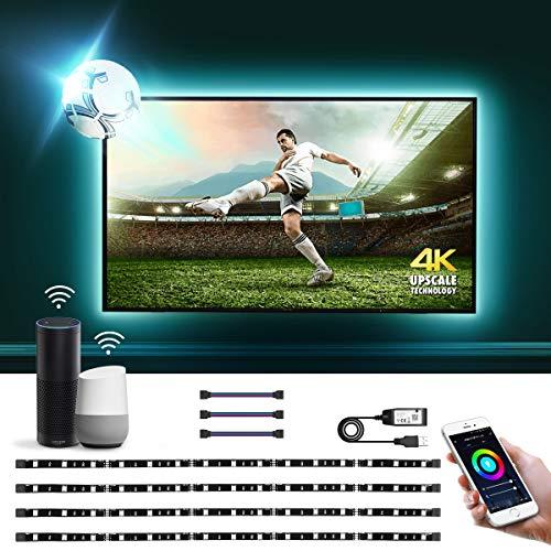 Lepro Striscia LED RGB WiFi Intelligente per TV USB Ricaricabile 2M, Compatibile con Alexa/Google Home, Smart Strisce LED Controllo da Voce e App, 16 Milioni Colori e Modalità Dimmerabili, 2.4GHz WiFi