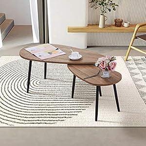 🍁Dimensioni:Tavolo grande: 110 * 50 * 43 cm / Tavolo piccolo: 70 * 35 * 39 cm; Capacità di carico 150 kg. 🍁Design: stile minimalista moderno nordico, design del tavolo di prua per impedire ai bambini di scontrarsi, il supporto a triangolo è il più st...