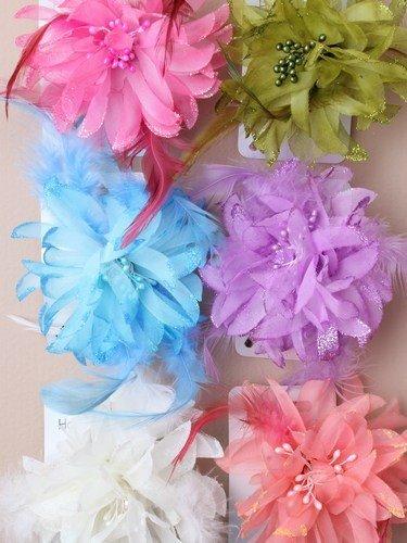 Détails à paillettes – Couleur pastel fleurs diapositive avec plumes (Rose clair)