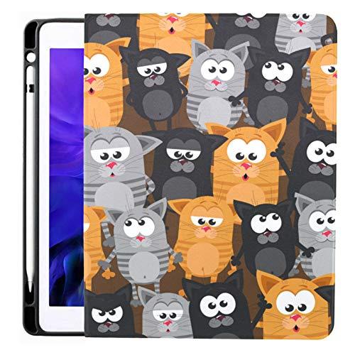 Custodia per Ipad Pro 12.9 2020 e 2018 con portamatite Gatti piatti Gattini Custodia per iPad con fumetto comico Smart Cover, supporta la ricarica della matita di seconda generazione, custodia per I