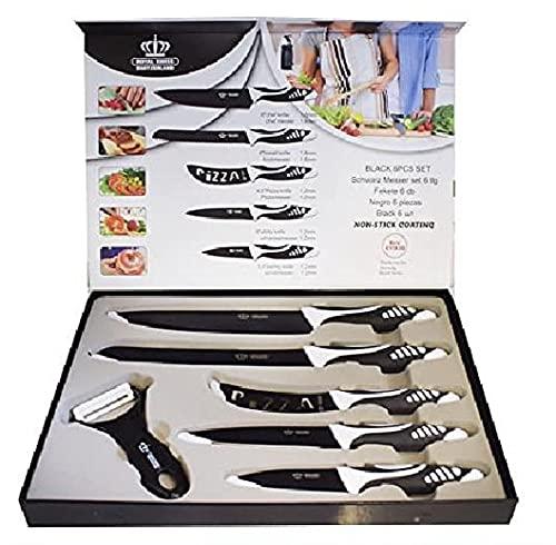 Royal Swiss Juego de Cuchillos antiadherentes 6 Piezas Hoja Acero INOX Mango de plástico, Negro, 0