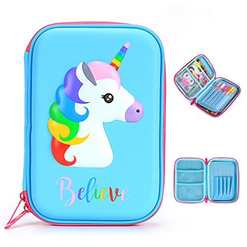 BTSKY Cute Unicorn Hard Shell Pencil Case- Large EVA Colored Pen Holder Box with Compartments Girls Cosmetic Pouch Bag Stationery Organizer
