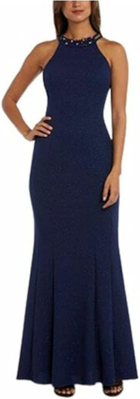 Nightway Womens Navy Glitter Sleeveless Halter Full-Length Body Con Evening Dress Size 8