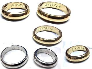 artigianale Fede FEDINA 3 Grammi Circa Colore Oro O Argento in Argento 925 Anello Matrimoniale Personalizzato col Tuo Nome...
