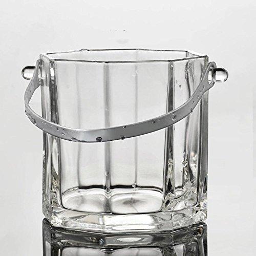 Secchiello per ghiaccio in vetro cristallo 1L Secchiello per champagne KTV con manico secchiello per ghiaccio secchiello ottagonale per ghiaccio - inviare un gancio per il ghiaccio 12x12 cm