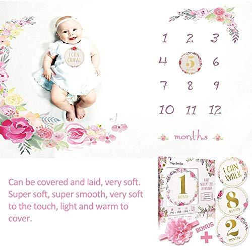 starter Couverture mensuelle pour bébé, Couverture de Fond Couverture mensuelle pour bébé Couverture Florale Guirlande Bandeau Super Doux bébé Langes Couverture pour la Photographie, 100cmx150cm