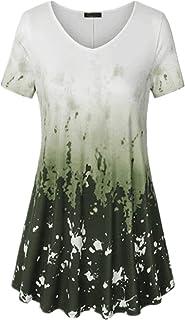 XWLY Women Tops V Neck Short Sleeve Gradient Blouse Women Chic Print Dress Women Summer Vintage Casual Comfortable Women's...