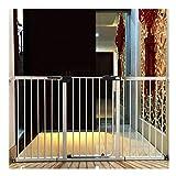 WHAIYAO Bebé Puerta De La Escalera Barrera Mascota Bebé Panel Porche Barandilla Escalera Barandilla Balcón Valla De Seguridad for Niños, Puerta Montada En La Pared (Color : White, Size : 193-200cm)