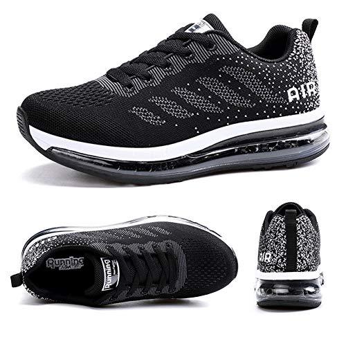 Axcone Zapatillas Hombres Mujer Deporte Running Zapatos para Correr Gimnasio Sneakers Deportivas Padel Transpirables Casual 833 BK 42EU