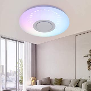 3D Ceiling Lamp Round Music Ceiling Light WiFi + Bluetooth Speaker App Control Compatible Alexa and Google Assistant, 36W ...
