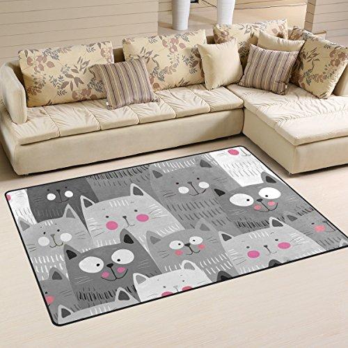 Wohnzimmer Teppich Designer Teppich Moderner Teppich Katzen Muster Bereich Teppich Fußmatte Bodenteppich Heimdekoration Waschbarer Teppich 31x20 inch