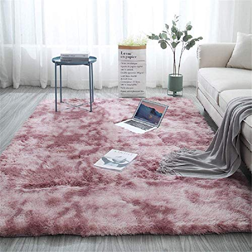 Aujelly Soft Area Rug Schlafzimmer Shaggy Teppich Zottige Teppiche Flauschige Bunte Batik-Teppiche Carpet Neu Rosa 160 x 200 cm