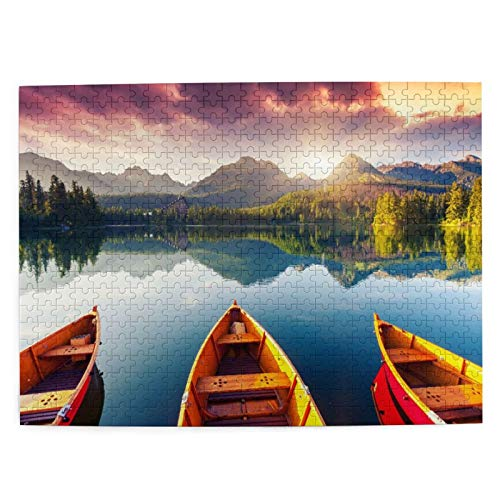 500 piezas rompecabezas navidad lago montaña en el parque nacional alta Tatra. dramático overcrast cielo 52*38 cm rompecabezas de madera para adultos