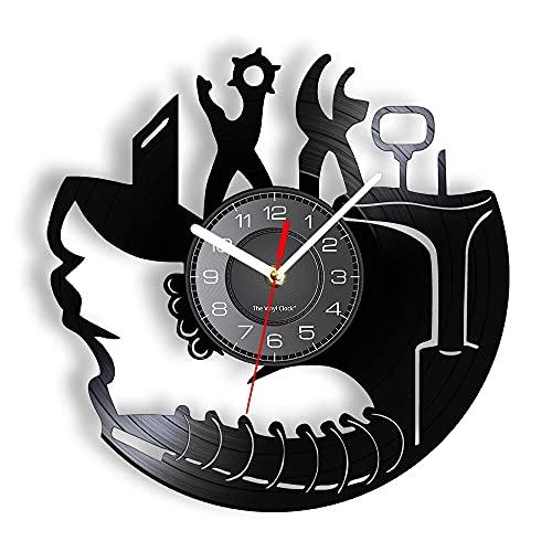 """Reloj de pared de vinilo Herramientas de reparación de zapatosReloj de pared de disco Martillo y tijeras Reloj de pared decorativo Regalos para zapatero y taller de reparación de calzado 30cm.12"""""""