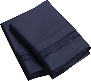 Mellanni Luxury Pillowcase Set - Brushed Microfiber 1800 Bedding - Wrinkle, Fade, Stain Resistant - Hypoallergenic (Set of 2 Standard Size, Royal Blue)