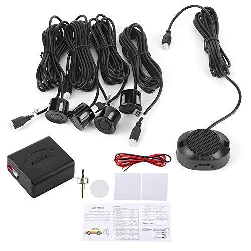 Akozon Sensor de estacionamiento Sensores de aparcamiento Sistema de radar de respaldo inverso Kit de ayuda de asistencia para marcha atrás con alerta de alarma sonora de audio