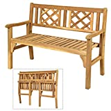 Giantex Patio Wooden Bench, 4 Ft Foldable Acacia Garden Bench, Two Person Loveseat Chair Solid with...