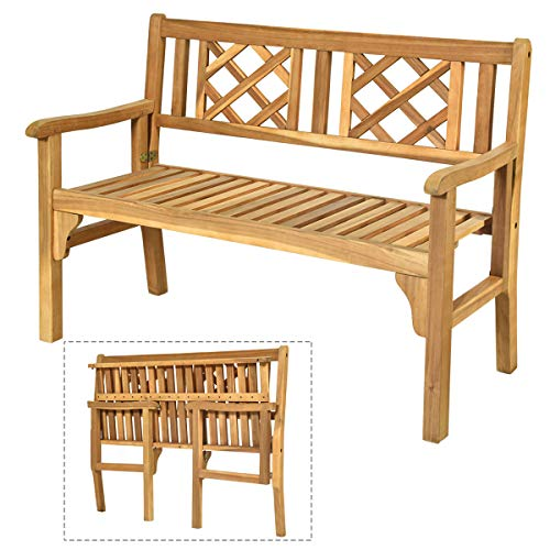 Giantex Patio Wooden Bench, 4 Ft Foldable Acacia Garden Bench, Two Person Loveseat Chair Solid with Curved Backrest and Armrest Ideal for Patio, Porch or Balcony (Teak)