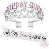 Zipoka Birthday Sash and Tiara for Women - 'Its My Freaking Birthday' Happy Birthday Decorations for Women - Girls Princess Crown Pink Party Decor, 18th 21st 30th 40th 50th Girl Headband Tiaras Crowns