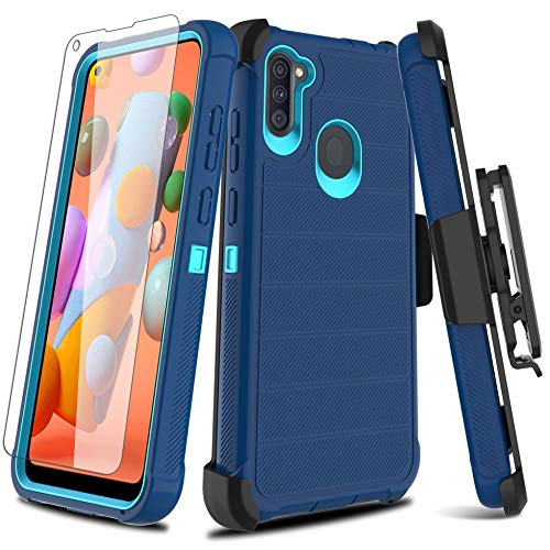 Leptech Galaxy A11 Case with Soft TPU Screen Protector, [Holster Series] Full Body Heavy Duty Armor Protective Phone Cover with Kickstand Belt Clip Case for Samsung Galaxy A11 (Navy)
