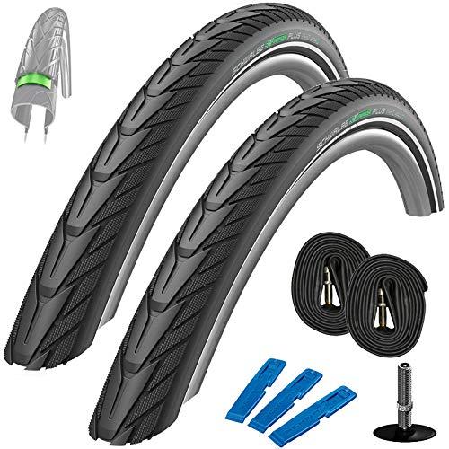 Schwalbe Energizer Plus Set: 2X Fahrradreifen für E-Bikes 40-622 (28 x 1.60) + 2 STK. Schläuche AV 17 mit Auto Ventil + Reifenheber