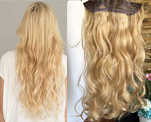 """DevaLook 20"""" Synthetic One Piece Wavy Curly Half Head Clip in Hair Extensions Solid Color DL (Blonde)"""