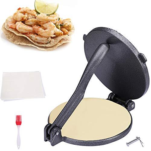 KNGKILQN - Olla de hierro fundido para tortilla, 20,3 cm, con 50 piezas de papel para hornear y 1 cepillo de aceite, color negro
