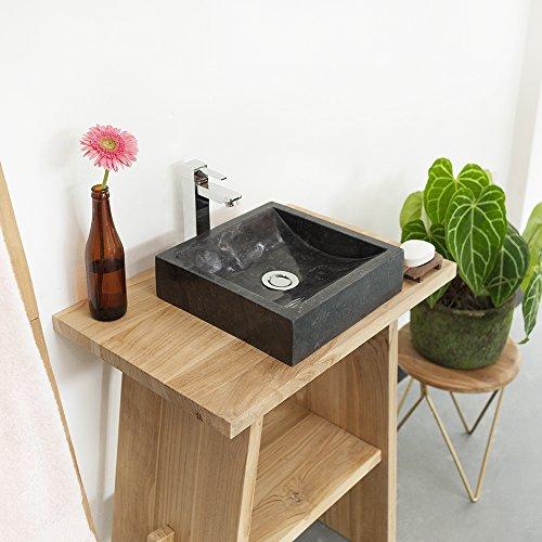 wohnfreuden Marmor Waschbecken 30 cm anthrazit ✓ recht-eckig poliert ✓ Steinwaschbecken oder Naturstein Waschbecken für Bad Gäste WC ✓ inkl. techn. Zeichnung