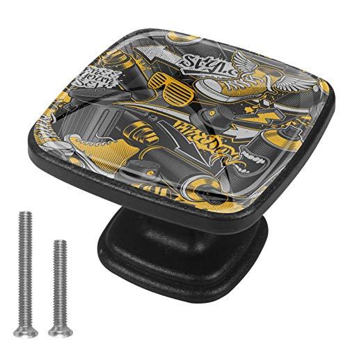 Perilla de Cocina Gafas de Zapatos Perilla del cajón Cristal Manija del cajón Impresión 3D Muestra La Decoración De La Oficina En El Hogar,4 Piezas 3x2.1x2 cm