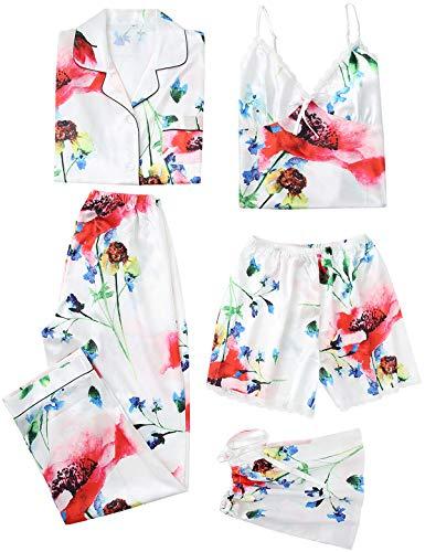 5PC Damen Nachtwäsche Set Satin Schlafanzug Seide Blumenmuster Pyjama Nachthemd Cami Shorts Hose Langarm Button-Down-Shirts S-XXL