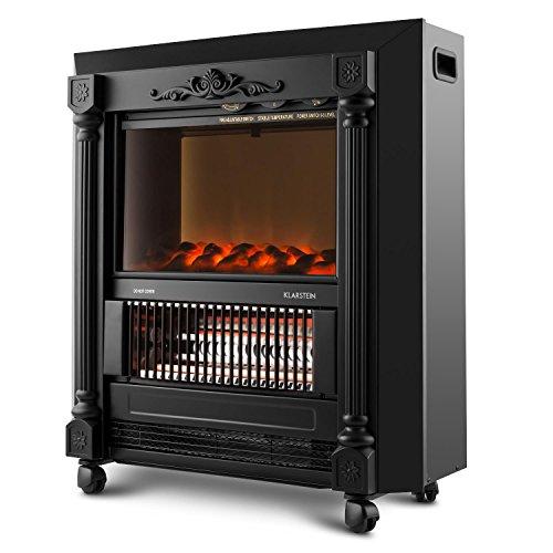 Klarstein Grenoble Elektrischer Kamin Retro Design Kamin-Ofen (leise mit lodernden Flammen-Effekt, mobil mit Bodenrollen, 2000W Quarz-Heizlüfter) schwarz - 5