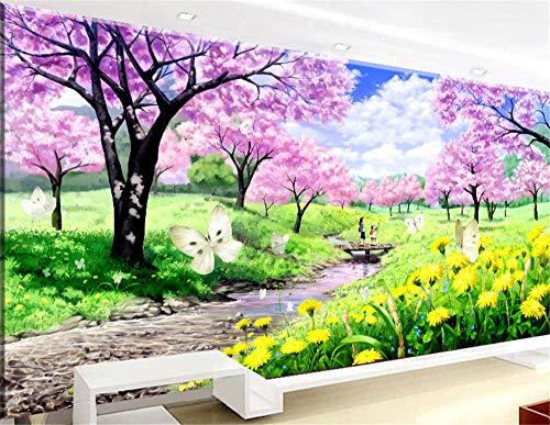 RAILONCH DIY 5D pintura de diamante flor de cerezo, pintura de diamante completo con brillantes de estrás, cuadro decorativo para el salón (100 x 50 cm)