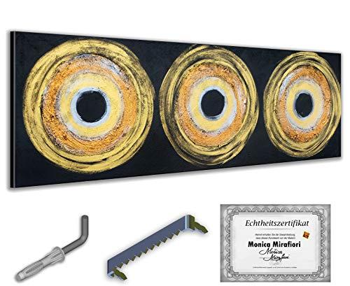 exclusive-gallery I Monica Mirafiori I Gemälde Goldene Kreise I 150x50cm | XXL Leinwandbild handgemalt | Acrylgemälde auf Leinwand | Sehr großes Acrylbild auf Keilrahmen