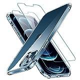 """CANSHN Funda para iPhone 13,[2X Protector de Pantalla] Carcasa Protectora Antigolpes Transparente con Parachoques de TPU Suave Flexible [Slim Delgada] Compatible con iPhone 13 6,1"""" - Clara"""