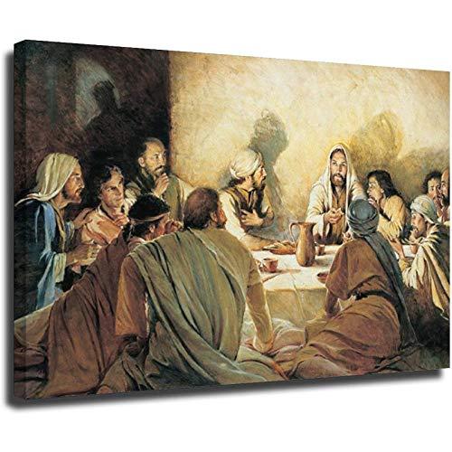 Cuadro modular de la última cena bautismo de la santa comunión y sacerdote para la sala de estar, póster en la pared, decoración del hogar, marco1 50 x 75 cm