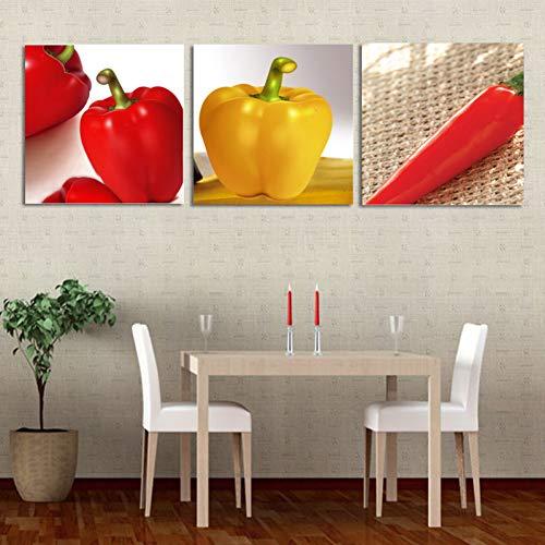 RHBNVR 40 * 40cm Canvas Painting 3 stuks muurschilderij canvasdruk geel rode peper kunst afbeelding hot chili eetkamer keuken wanddecoratie