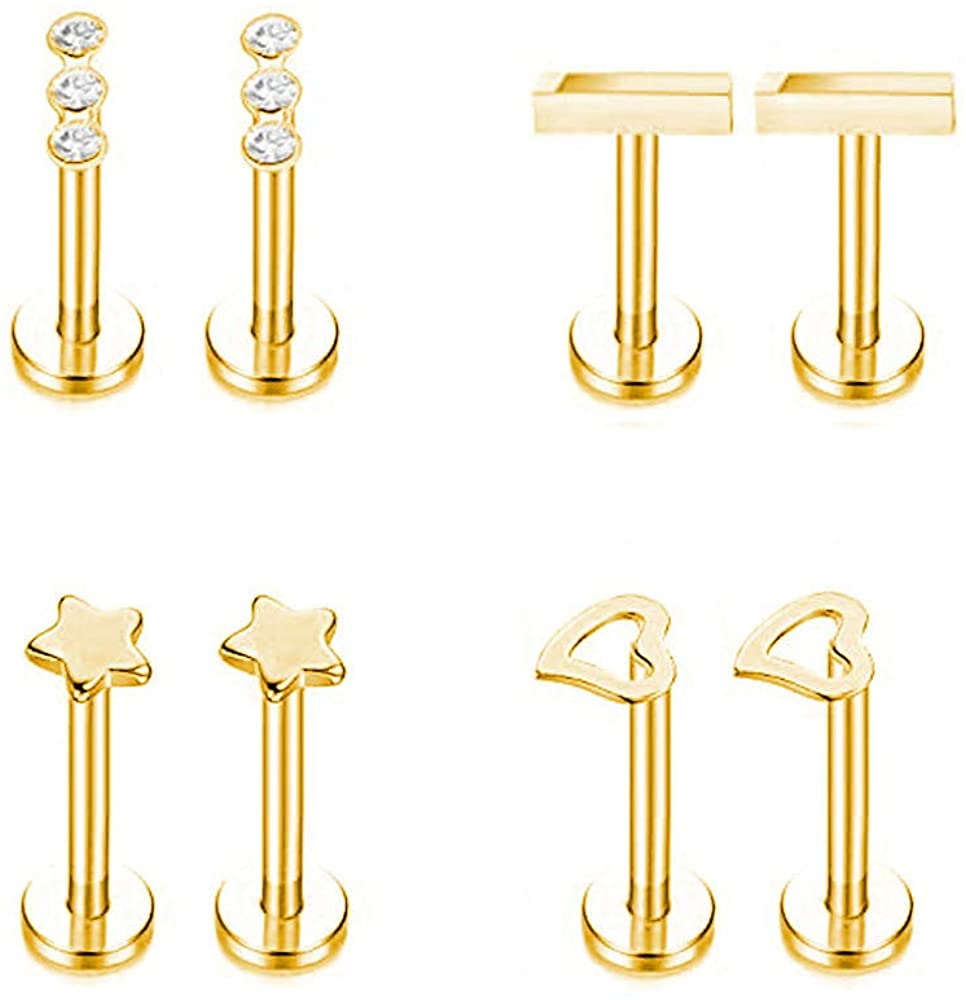 Gnoliew 16G 316L Stainless Steel Labret Monroe Lip Ring Studs Cartilage Helix Tragus Conch Daith Nose Piercing Jewelry