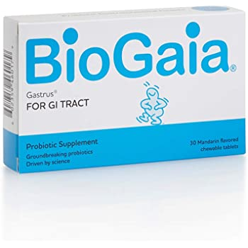 BioGaia Gastrus Chewable Tablets, Adult Probiotic Supplement for Stomach Discomfort, Constipation, Gas, Bloating, Regularity, Non-GMO, 30 Tablets, 1 Pack