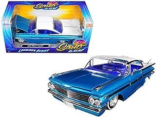 1959 Chevrolet Impala Blue & White Lowrider 1/24 Diecast Car Model By Jada 98923