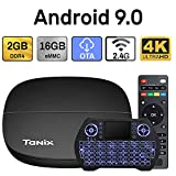 Android 9.0 TV Box 2GB 16GB DDR4 RAM ROM Decodificador Smart TV Box USB 2.0 1080P Ultra HD 4K HDR WiFi 2.4GHz Reproductor Multimedia de Transmisión con Mini Teclado Inalámbrico Retroiluminado