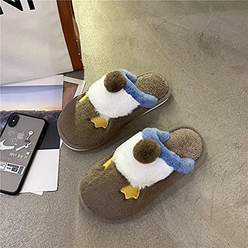 Zapatillas De Estar En Casa Hombre Divertidas,Zapatillas De AlgodóN Baotou, 2021 Hombres Y Mujeres Nuevo OtoñO Invierno Interior Y Ropa Interior Ropa De Dibujos Animados Lindo Zapatillas De Piel-41_c