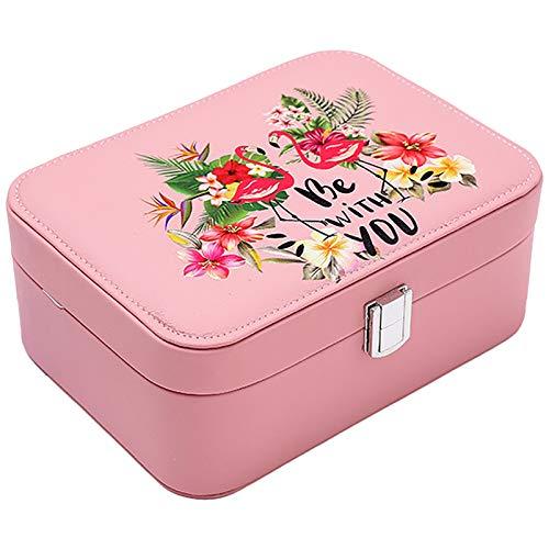 Caja De Almacenamiento De Joyas De Viajes Pequeño, Collar Pulsera PU Joyería De Cuero Artificial, Pendientes De Anillo Organizador De Caja De Joyería para Niñas Muje Pink