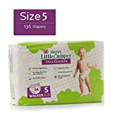 Happy Little Camper x Hilary Duff Ultra-Absorbent Hypoallergenic Natural Baby Diapers with Bio-Core Blend and Strong Latex and Chlorine-Free Protection, Monthly Pack, Size 5, 136 Count