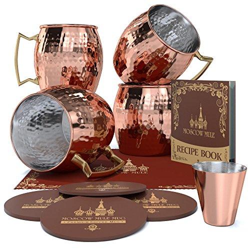 """KrownKitchen - Taza de cobre forjado para """"Moscow Mule"""", interior de acero inoxidable, 473 ml"""