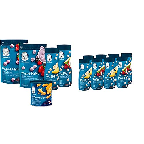 Gerber Up Age Snacks Variety Pack - Puffs, Yogurt Melts & Lil Crunchies, 9Count & Puffs Cereal Snack, Banana & Strawberry Apple, 8 Count