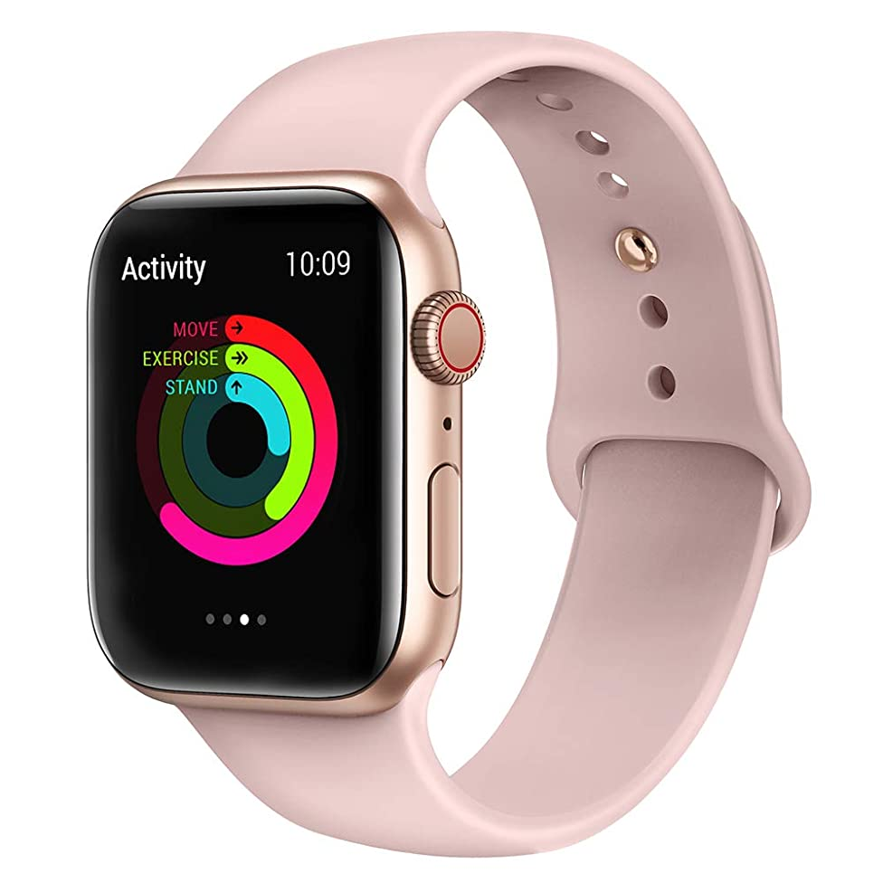 AdMaster Sport Band for Apple Watch 44mm 40mm 42mm 38mm, Soft Silicone Strap Replacement iWatch Bands for Apple Watch Sport,Series 4, Series 3, Series 2, Series 1 S/M M/L