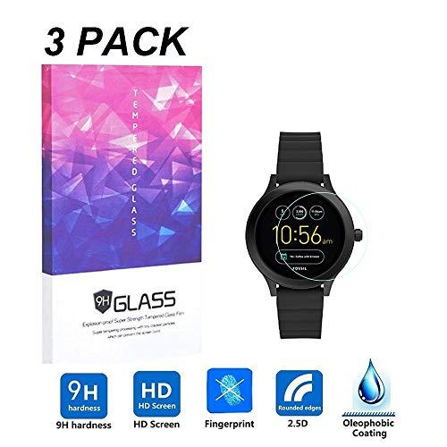 LUXACURY Fossil Q Venture Gen 3 Protector de Pantalla de Cristal Templado para Fossil Q Venture Gen 3 Smartwatch, Alta Definición, Dureza 9H