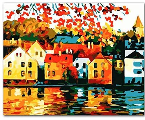 Quiet Town Landscape Diy Pintura Al Óleo Digital Por Números Europa Pintura De La Lona Abstracta Para La Sala De Arte De La Pared Con Marco 40x50cm