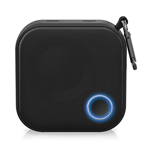 Brookstone Big Blue Go Compact Wireless Speaker, Dustproof, Water Resistant for Indoor/Outdoor/Shower, Deep Bass, Long Range, 10HR Play-Time, Touch-and-Link, Ultra-Portable Carabiner Clip, Black, V2