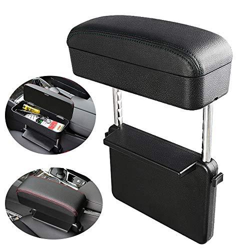 Cytech Universale Pelle Divario del seggiolino Auto Box bracciolo Centrale Auto Regolabile Ascesa e Caduta/Deposito Scatola per Auto/Caricabatterie Wireless per Auto (Nero)